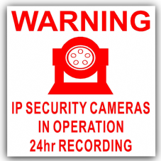 1 x IP Camera Security Stickers-Red on White-24hr Surveillance CCTV,Home,Premises Self Adhesive Vinyl Signs